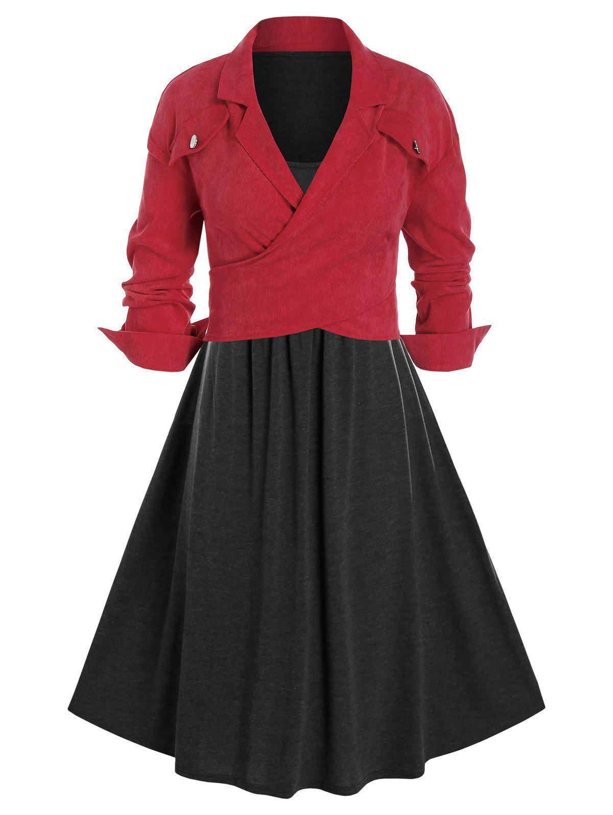 Plus Size Tank Dress and Corduroy Crossover Jacket Set - multicolor 3X
