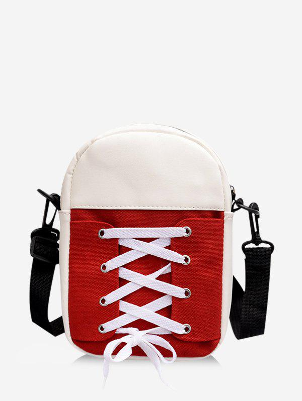Retro Canvas Lace Up Crossbody Bag - RED