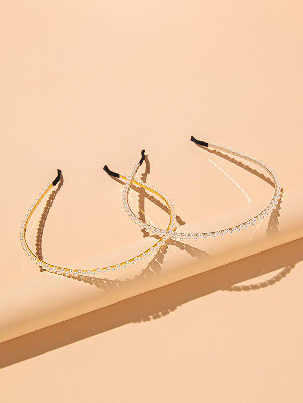 2 Pieces Faux Pearl Hair Bands - GOLDEN