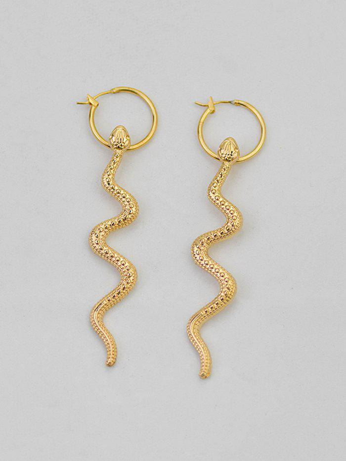 Snake Pattern Hoop Drop Earrings - GOLDEN