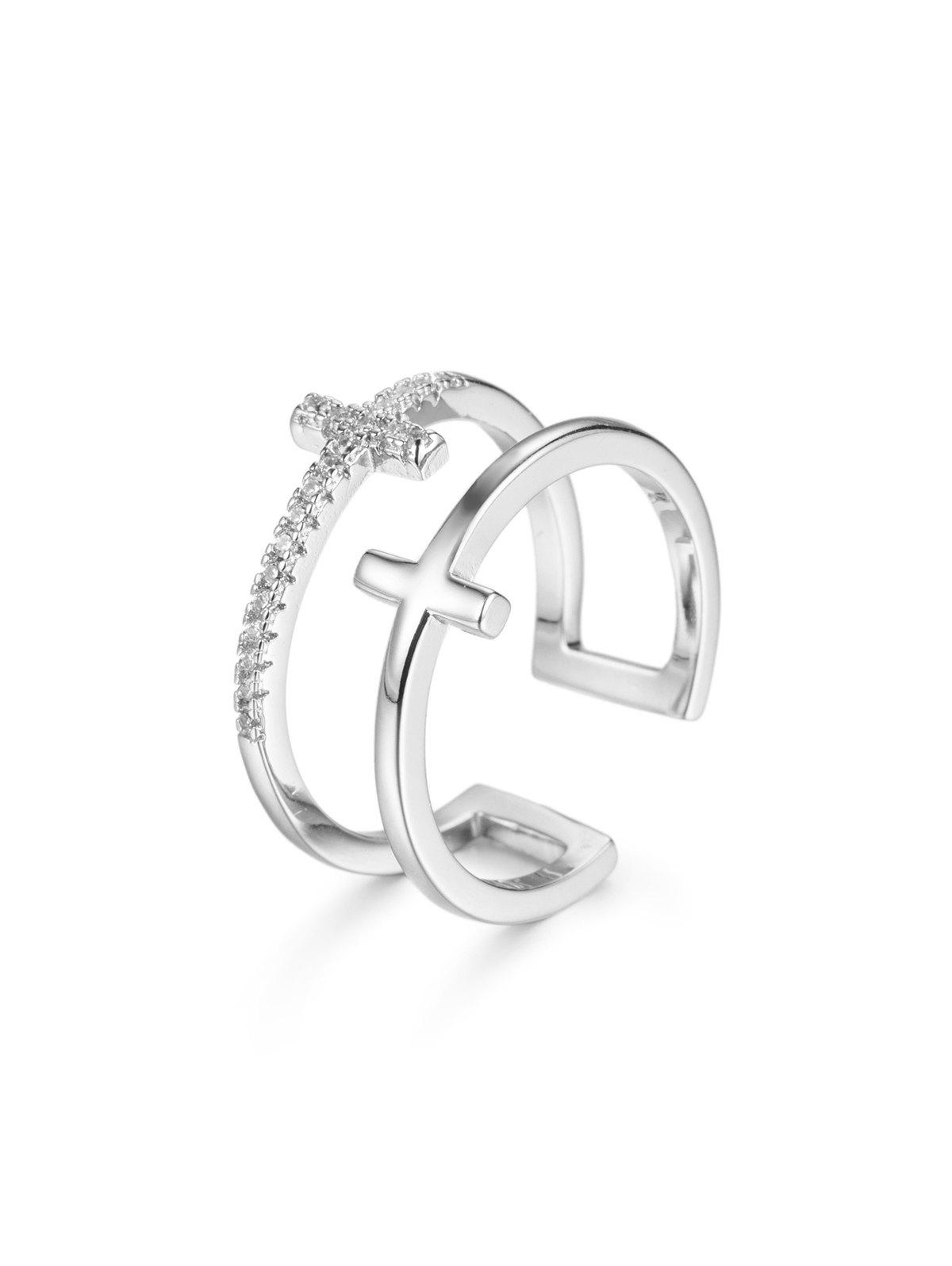 Hollow Double Cross Zircon Open Ring - SILVER