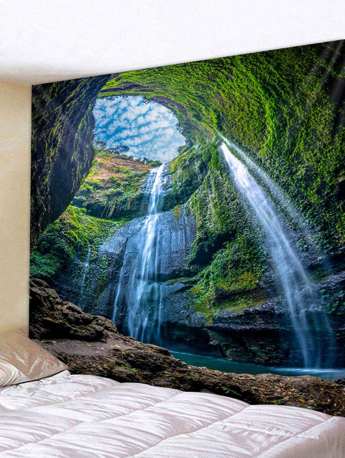 Moss Waterfall Cave Pattern Wall Tapestry - FERN GREEN W79 X L59 INCH
