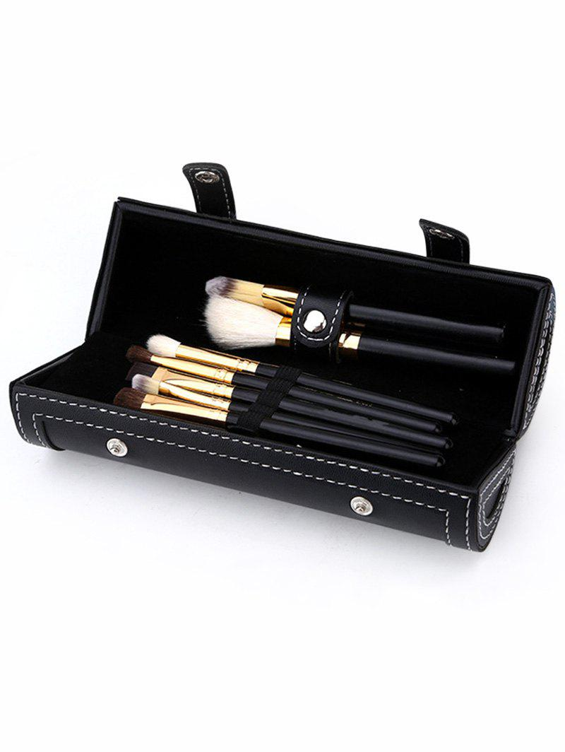 9Pcs Multi-purpose Makeup Brushes Set with Bag - JET BLACK 9PCS