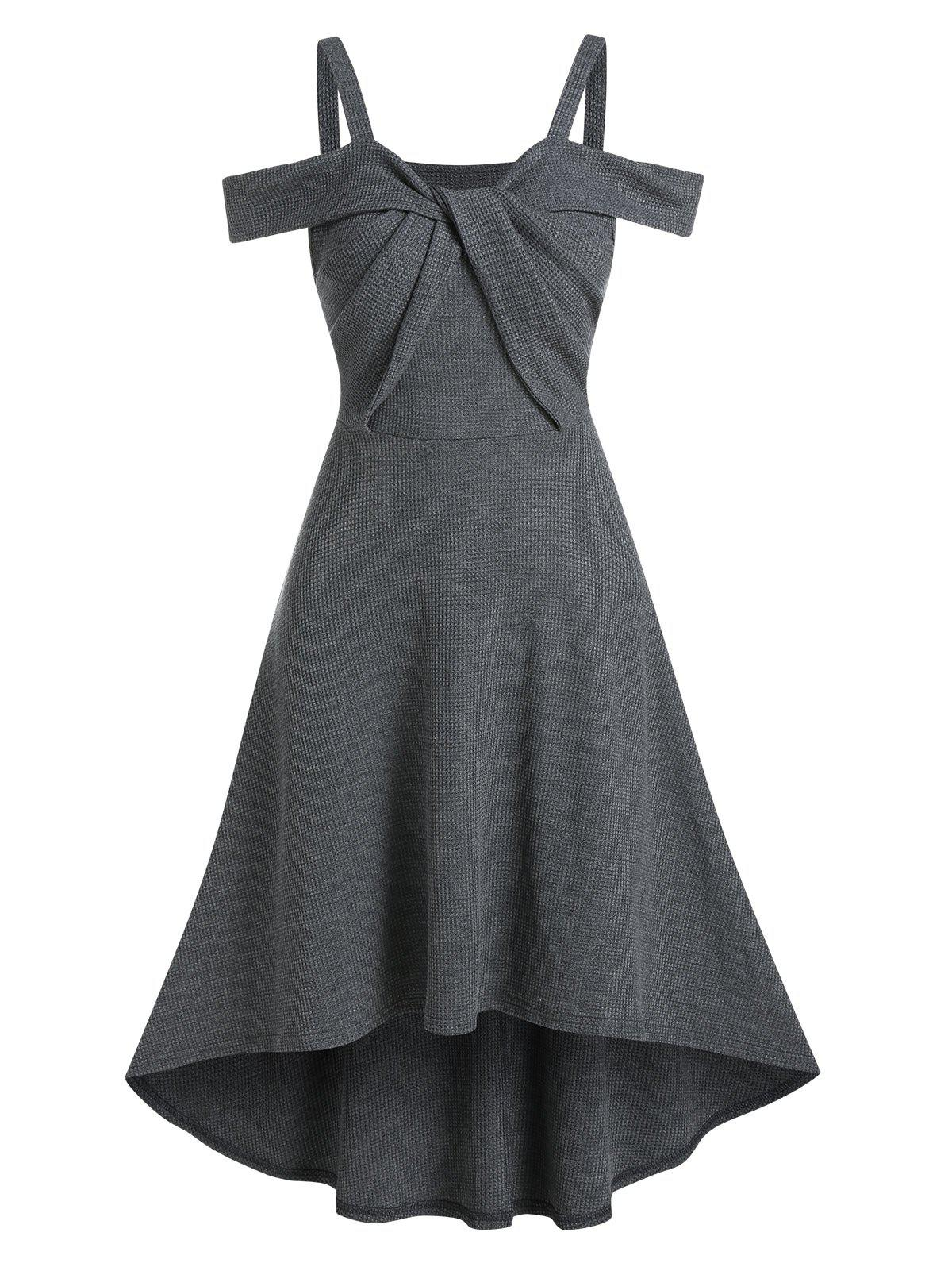 Front Twist Open Shoulder High Waist Dip Hem Dress - GRAY L