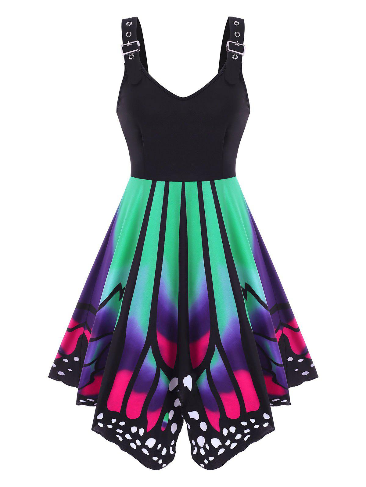 Buckled Lace-up Butterfly Print Dress - multicolor S