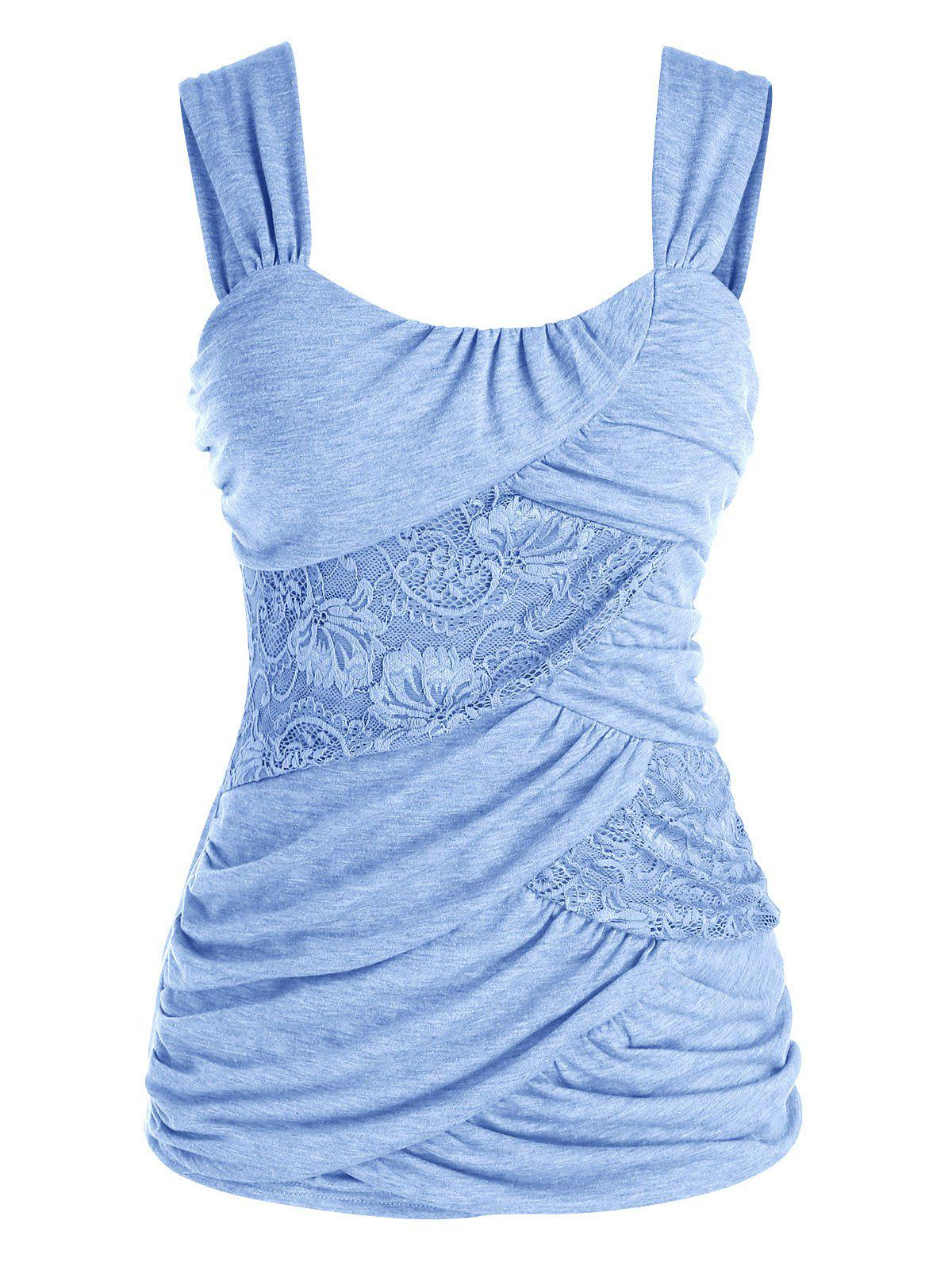 Plus Size Ruched Lace Insert Tank Top - SEA BLUE 5X