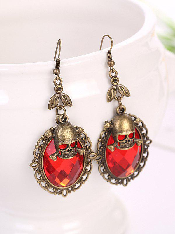 Gothic Halloween Faux Crystal Skull Earrings - RED