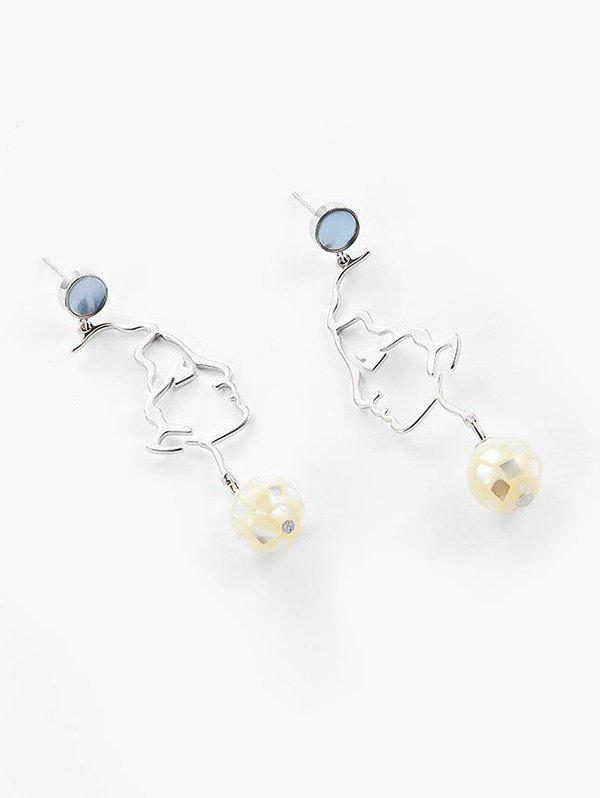 Exaggerated Hollow Face Shell Drop Earrings - SILVER