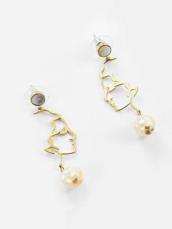 Exaggerated Hollow Face Shell Drop Earrings - GOLDEN