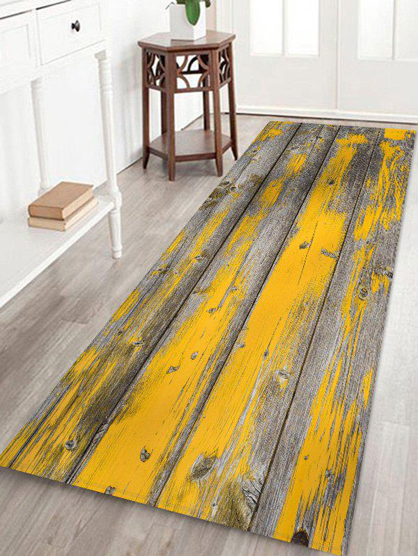 Retro Wood Plank 3D Pattern Floor Mat - YELLOW W16 X L47 INCH