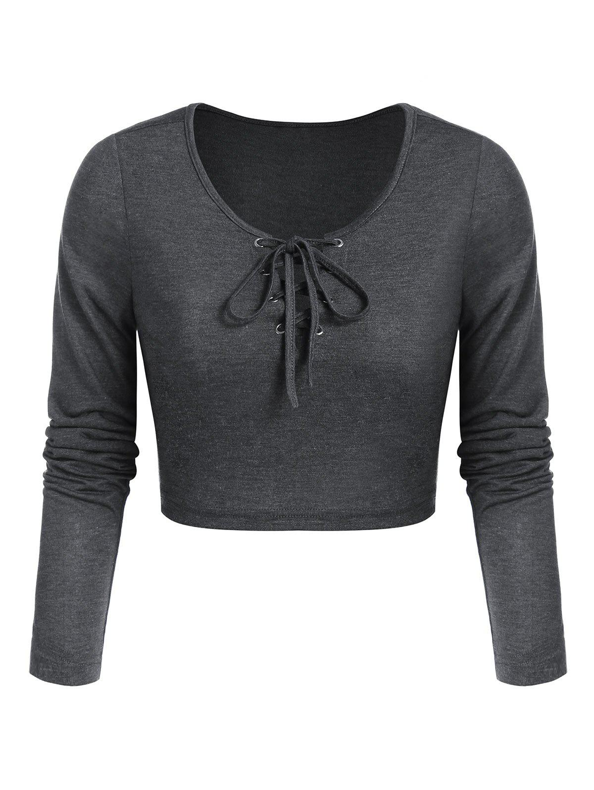 Lace-up Heathered Cropped T-shirt - ASH GRAY 3XL
