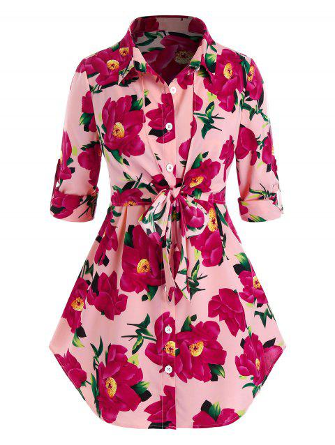 Plus Size Flower Print Roll Up Sleeve Tie Tunic Blouse