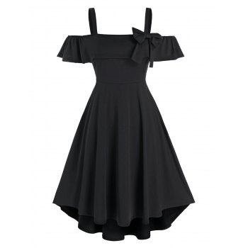 Plus Size Flounce Bowknot Open Shoulder Dress