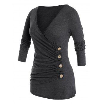 Plus Size Ruched Surplice Long Sleeve Tee