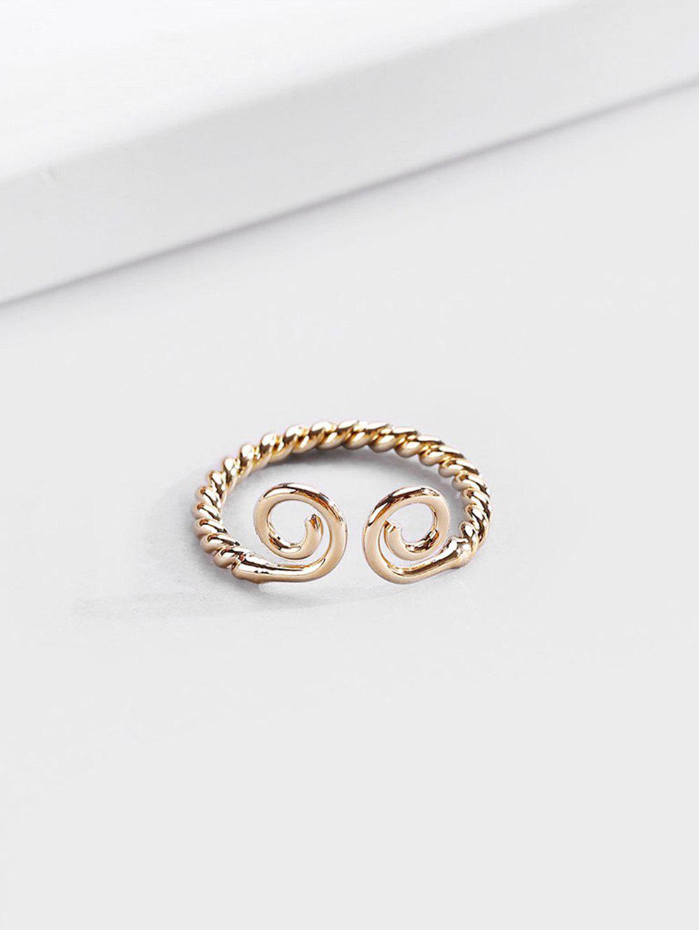 18K Gold Plated Adjustable Twist Cuff Ring - GOLDEN RESIZEABLE