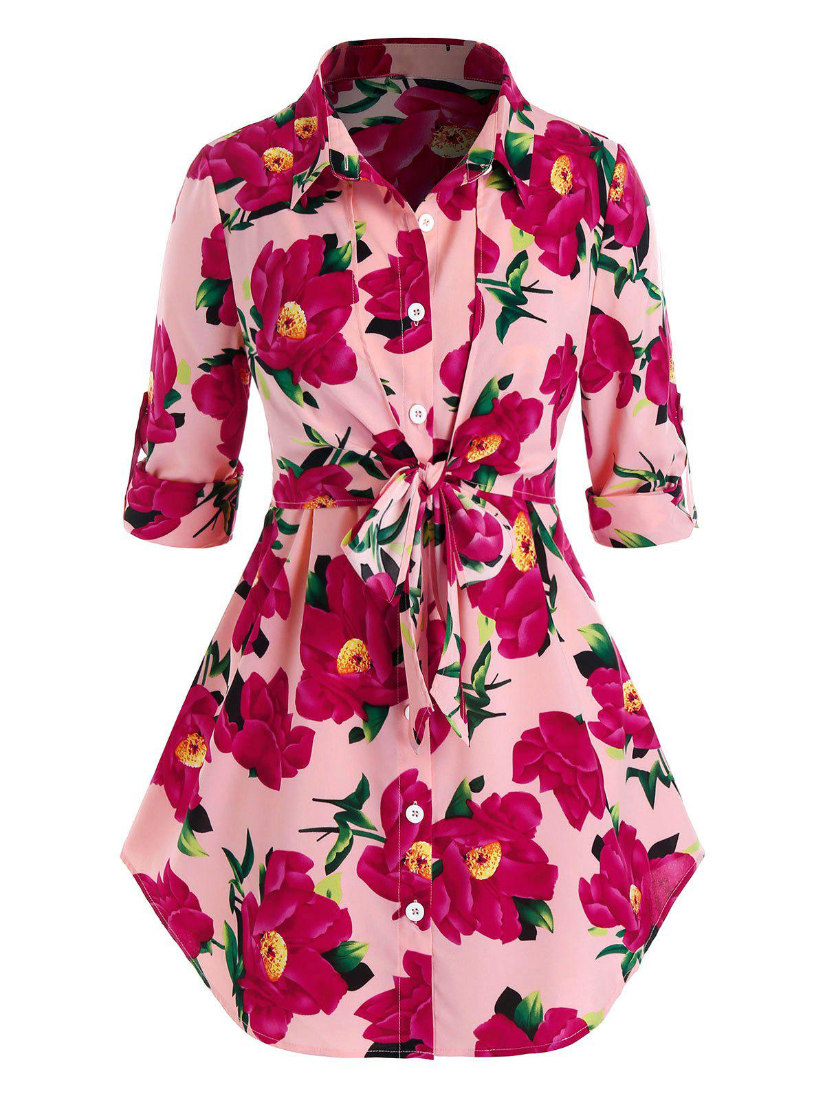 Plus Size Flower Print Roll Up Sleeve Tie Tunic Blouse - PINK 4X