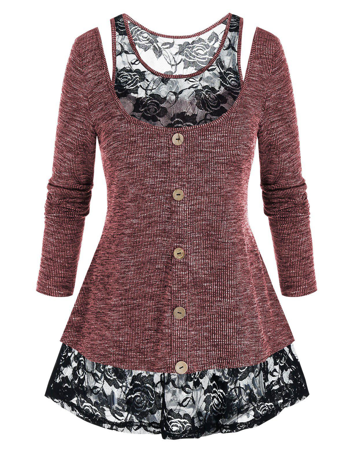 Plus Size Lace Insert Marled Cutout Long Sleeve Tee - RED WINE 5X