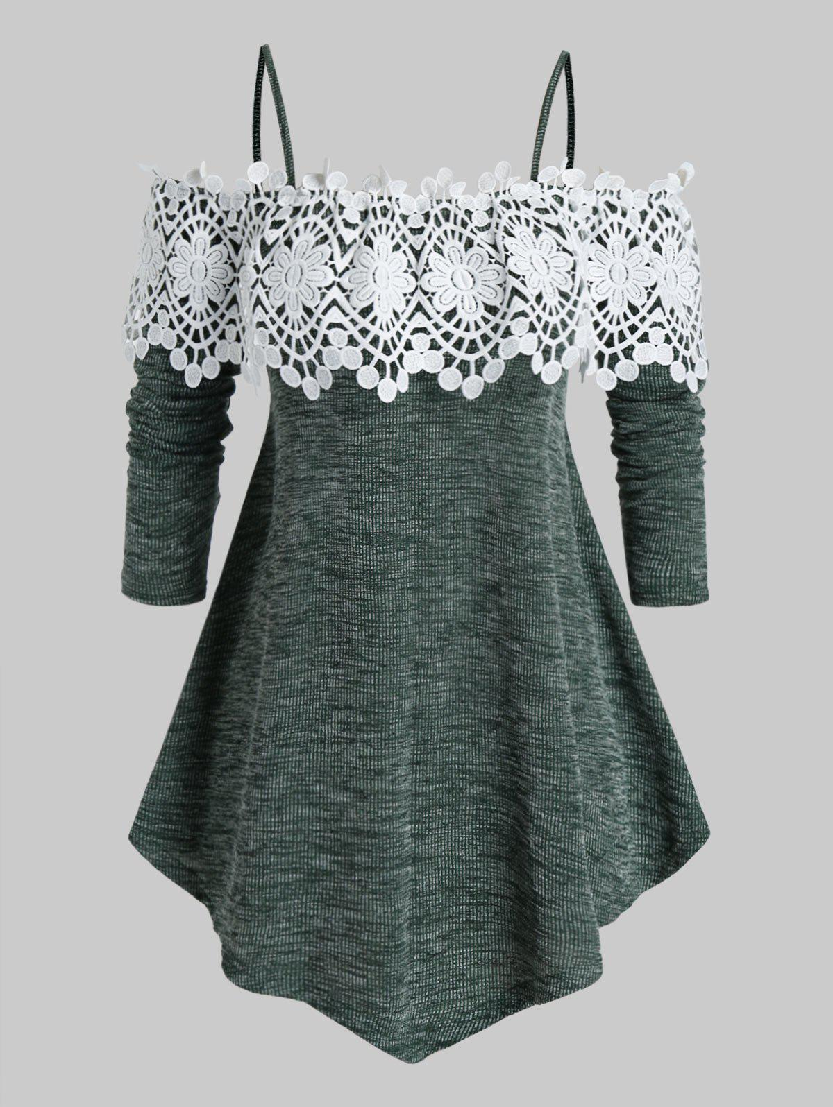 Plus Size Lace Guipure Cold Shoulder Marled Knitwear - SEA GREEN 5X