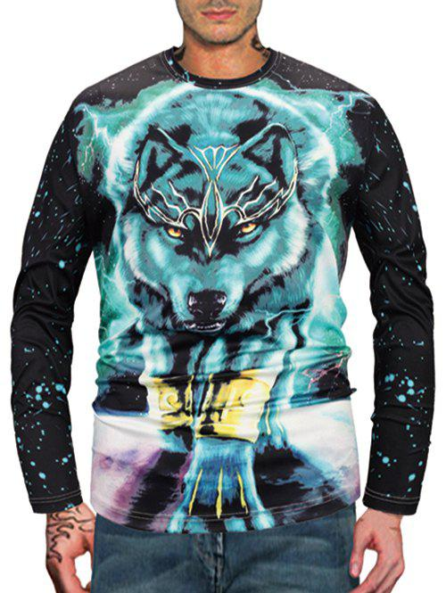 Galaxy Wolf Print Long Sleeve T-shirt - multicolor M