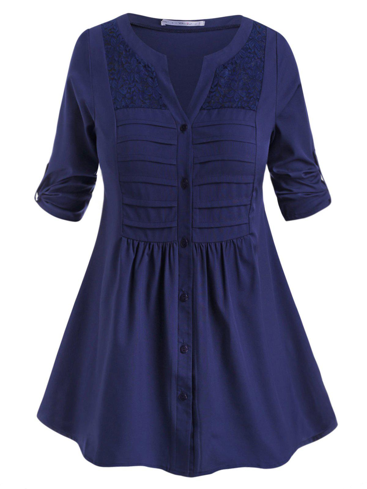 Button Up Pintuck Tab Sleeve Plus Size Blouse - DEEP BLUE 4X