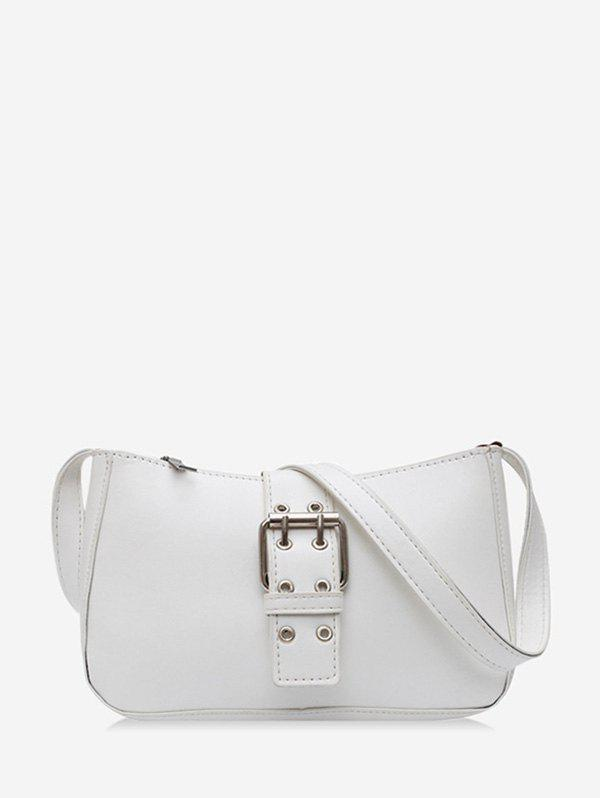 O Ring Buckle Zipper French Shoulder Bag - WHITE