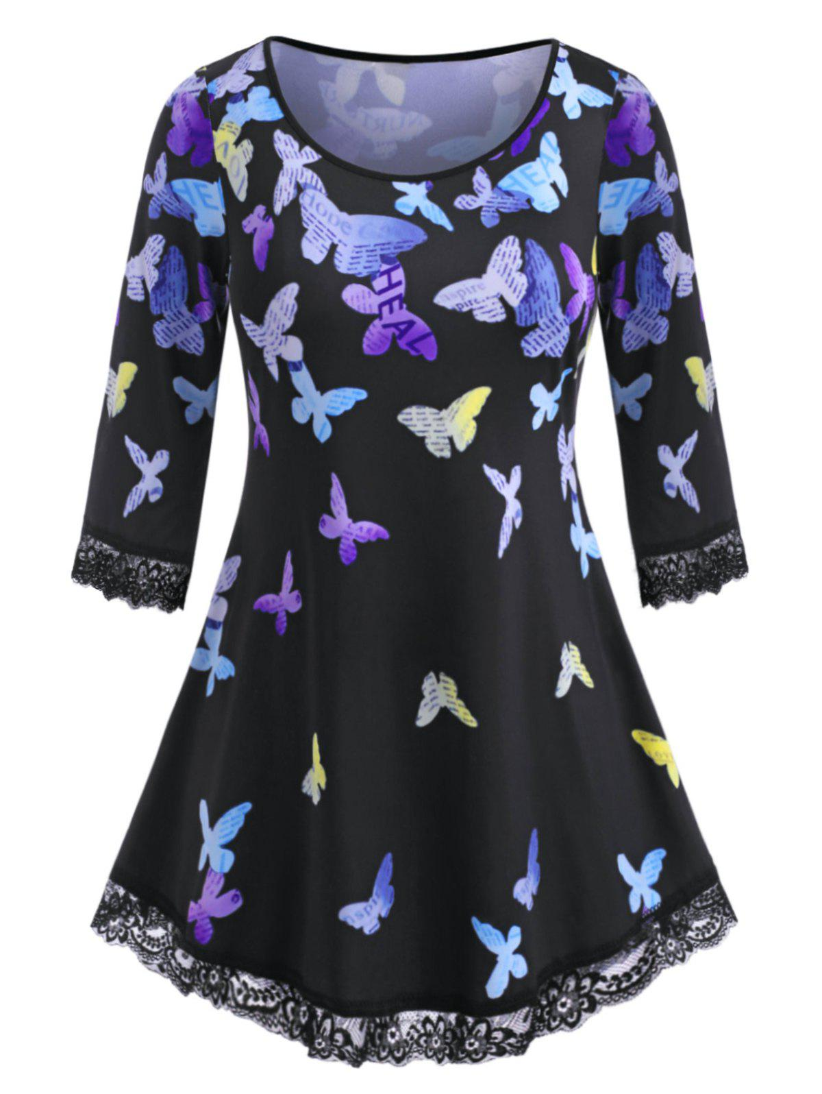 Multicolored Butterfly Scalloped Lace Trim Plus Size Top - BLACK L