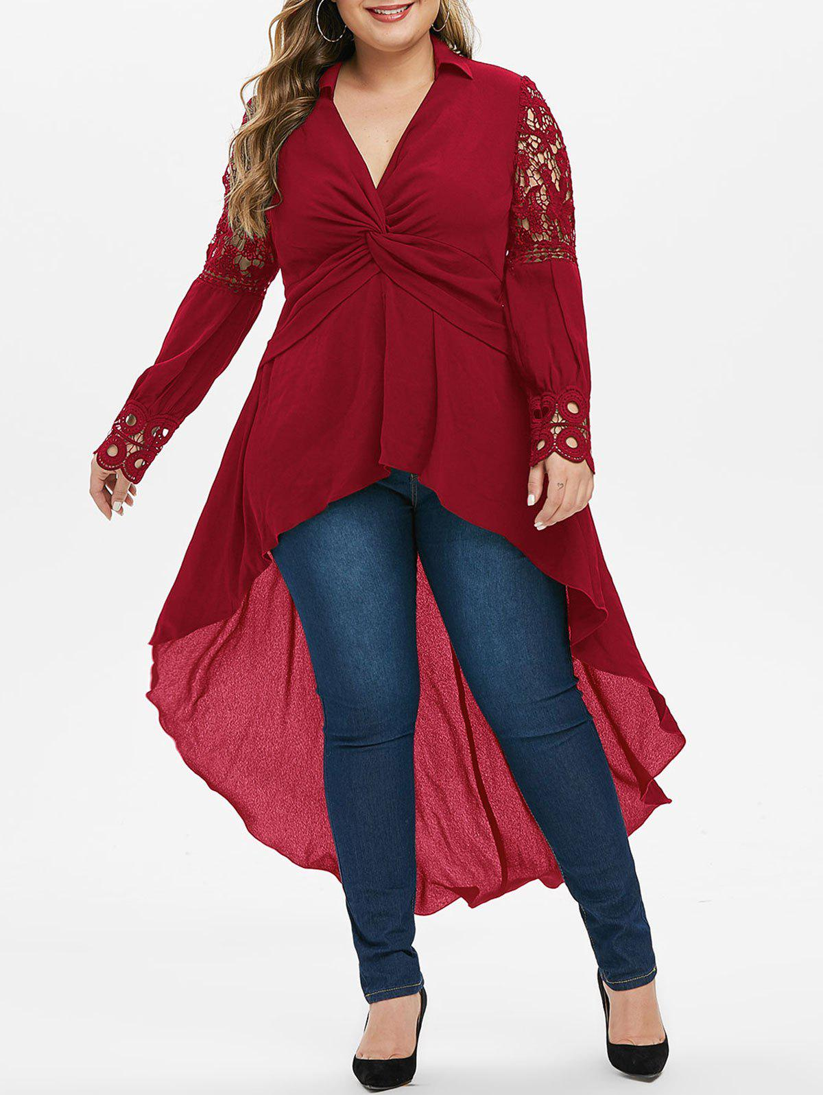 Plus Size Front Twist High Low Blouse - RED 4X