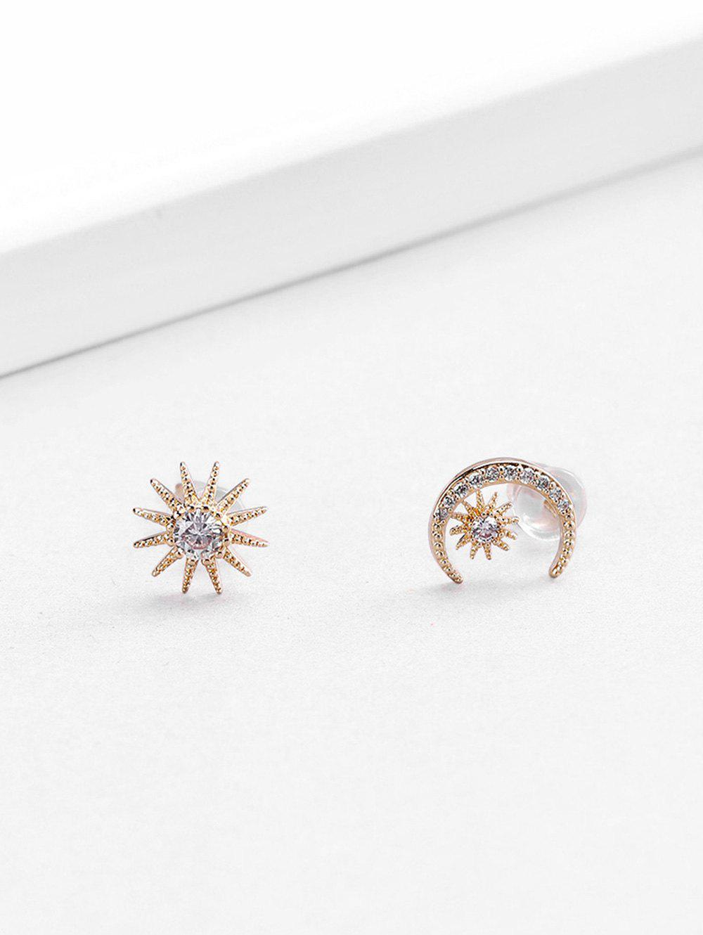 18K Gold Plated Zircon Embellished Moon Star Shape Stud Earrings - GOLDEN