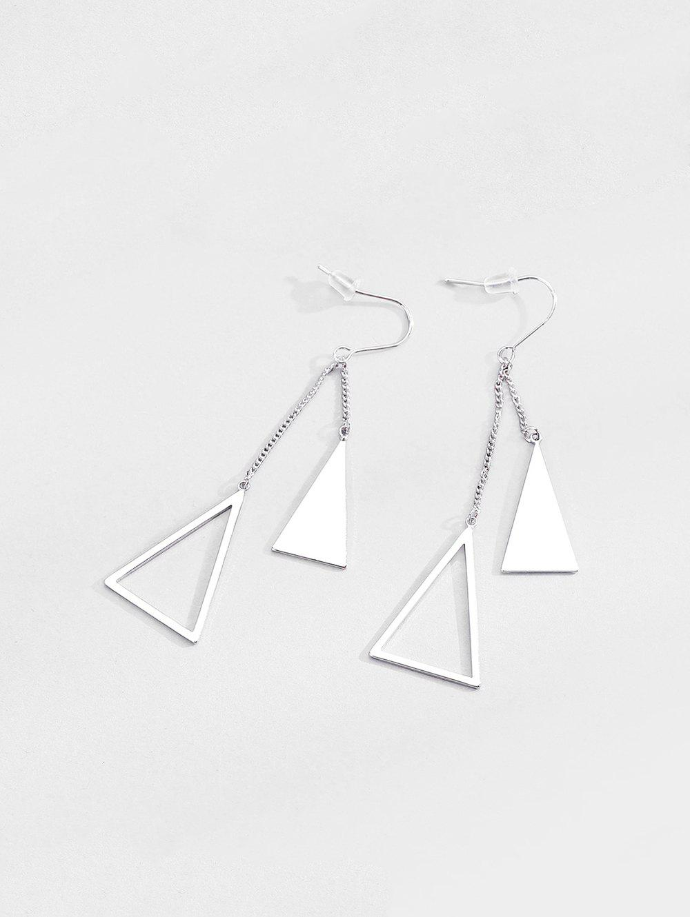 Hollow Out Geometric Shape Drop Earrings - SILVER