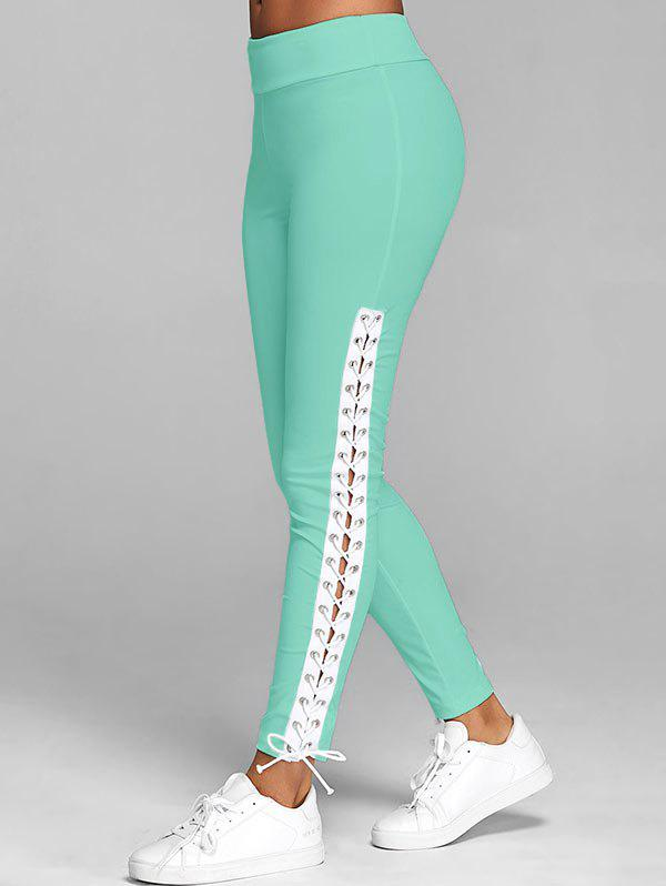 Lace Up Plain Skinny Pants - LIGHT GREEN L