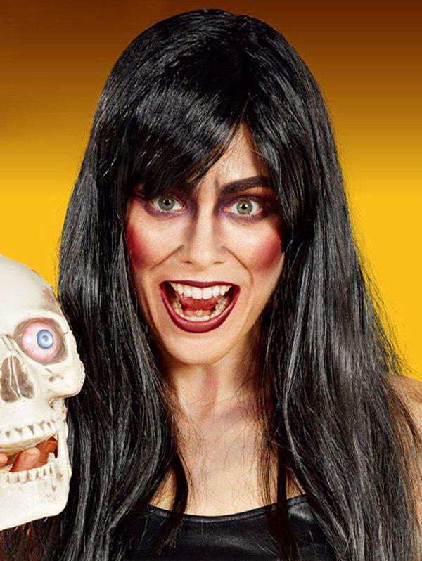 Halloween Dressed Long Full Bang Straight Synthetic Wig - BLACK