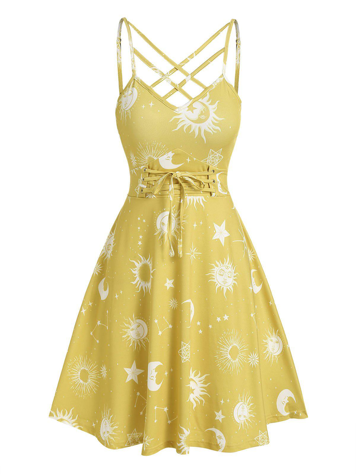 Sun Moon Print Crisscross Dress - DEEP YELLOW L