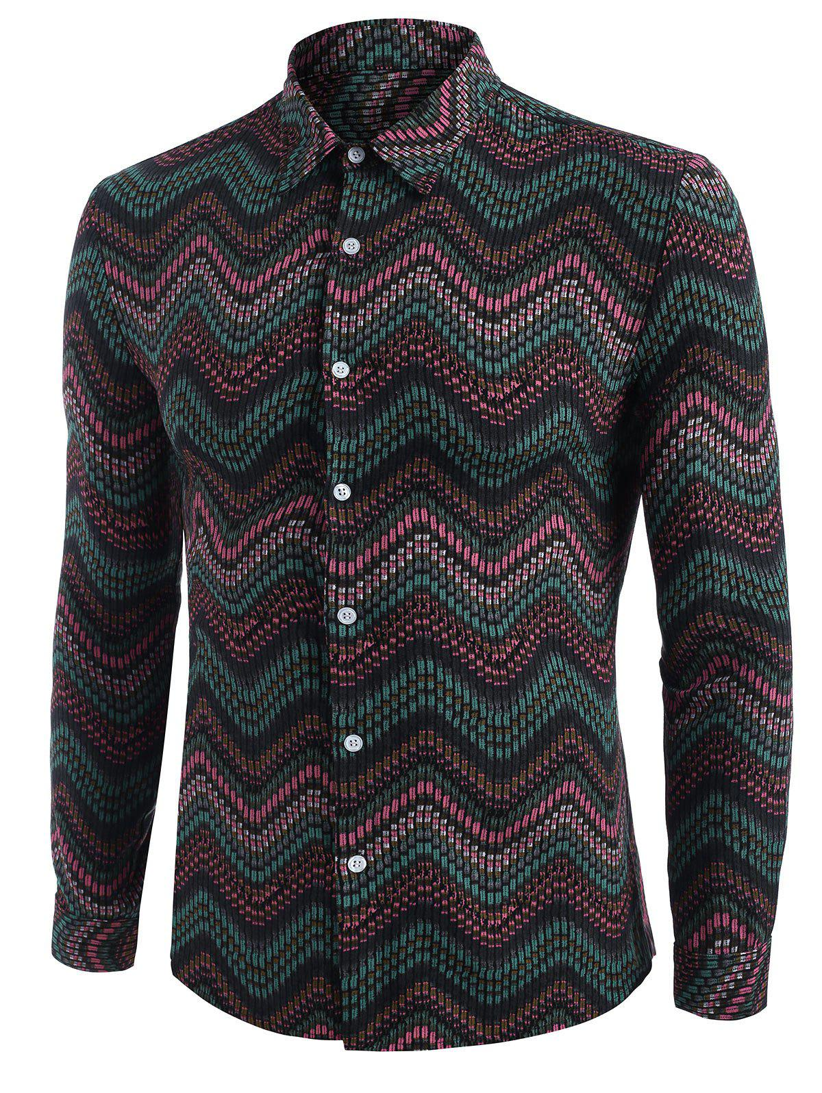 Tribal Zigzag Print Long Sleeve Shirt - DEEP GREEN 3XL