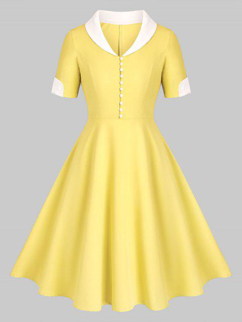 Shawl Collar Button Placket Fit and Flare Vintage Dress