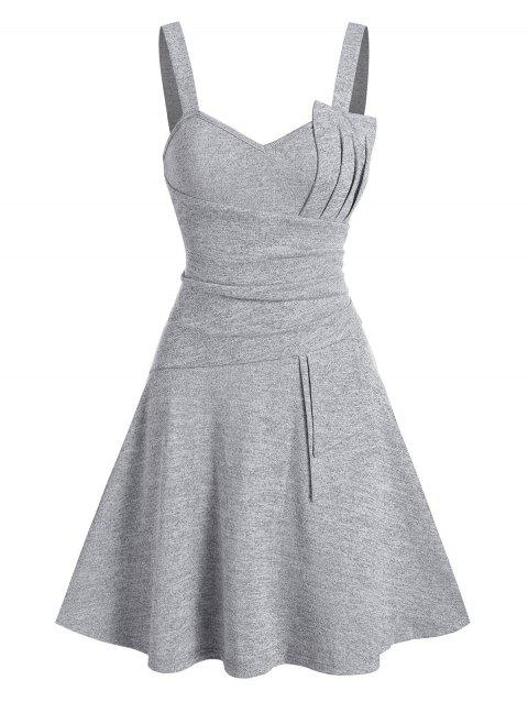 Plain Pleated Knitted Cami A Line Dress
