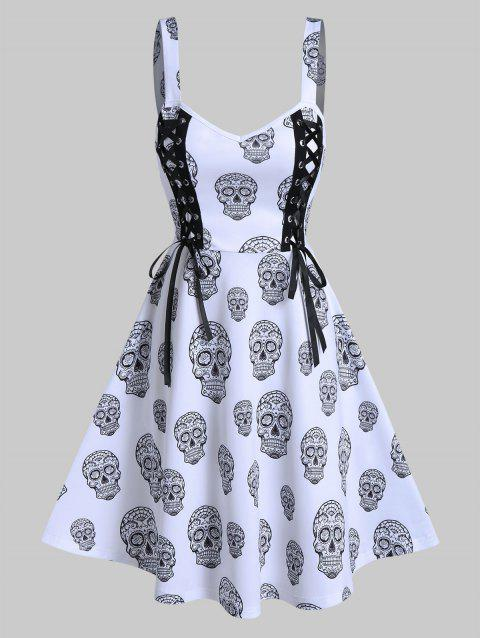 Gothic Skull Print Lace Up Cami A Line Dress