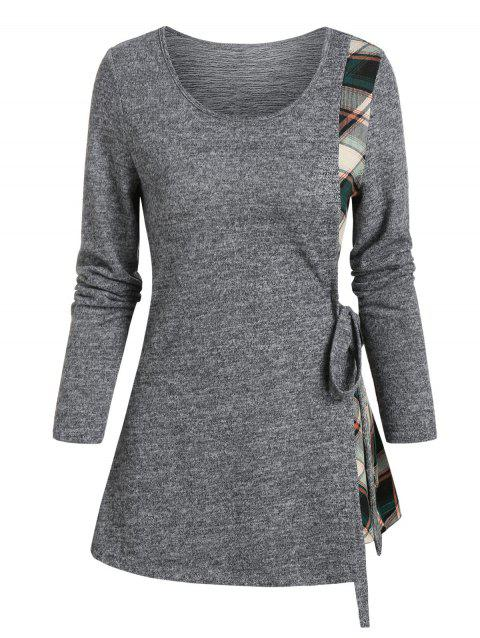 Plaid Insert Long Sleeve Knotted T-shirt