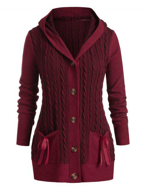 Plus Size Hooded Cable Knit Bowknot Pocket Cardigan