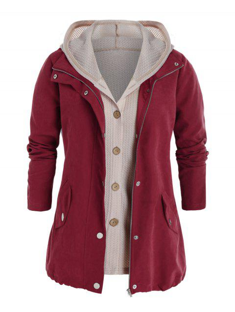 Plus Size Zip Pocket Jacket and Hooded Knit Top Set