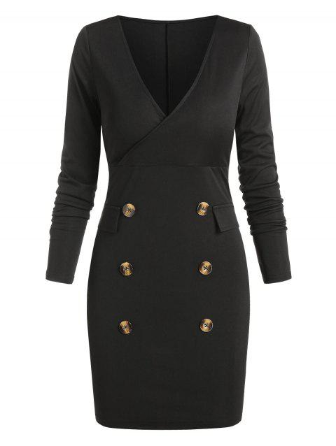 Long Sleeve Mock Button Mini Sheath Dress