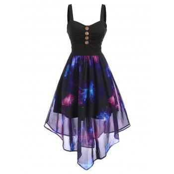 Galaxy Print Mock Button Ruched Maxi Dress