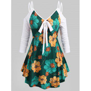 Floral Knotted Strappy Open Shoulder Plus Size Top