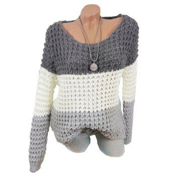 Plus Size Color Blocking Chunky Sweater