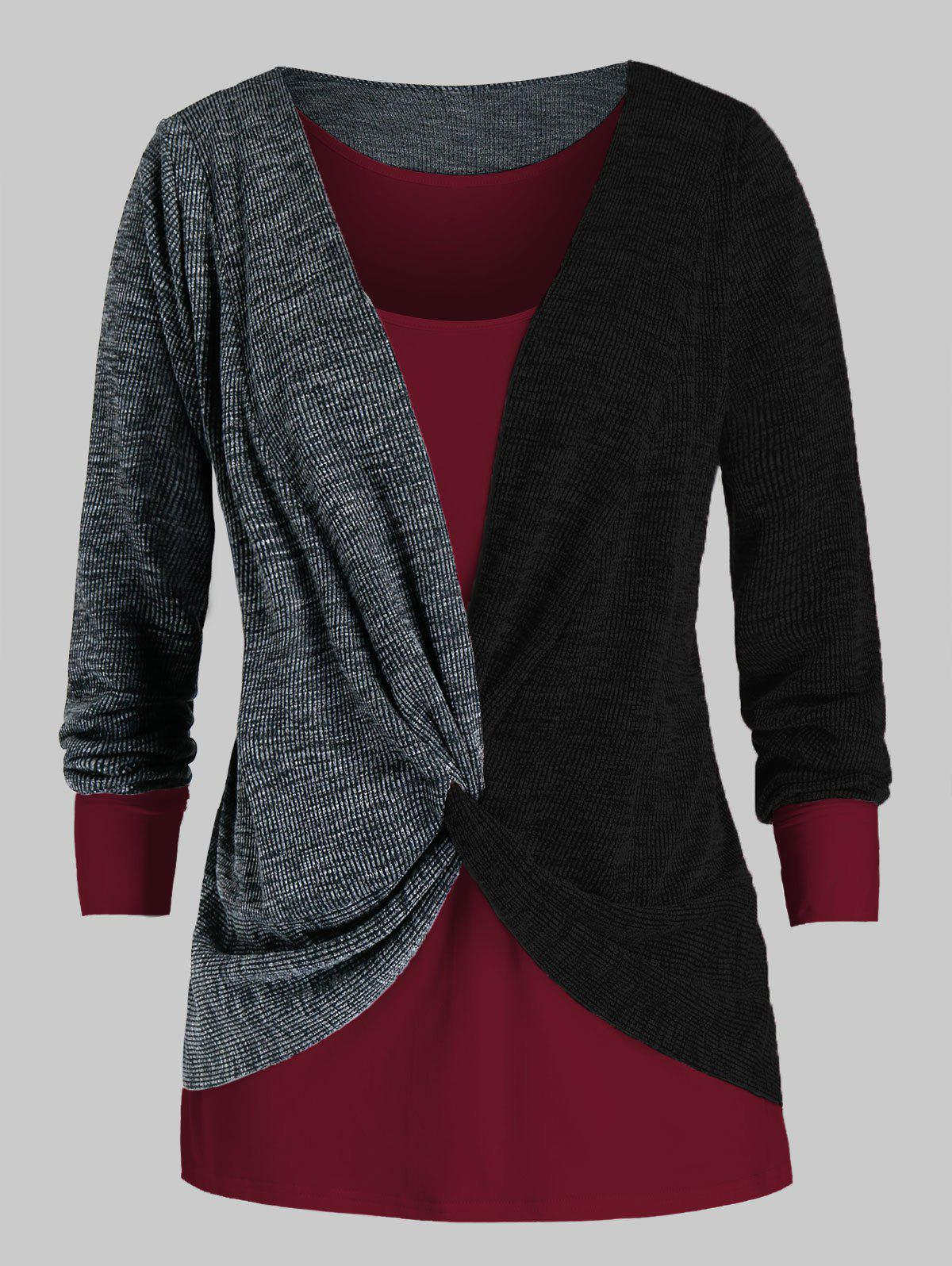 Plus Size Two Tone Twist Sweater and Tank Top Set - BLACK 2X