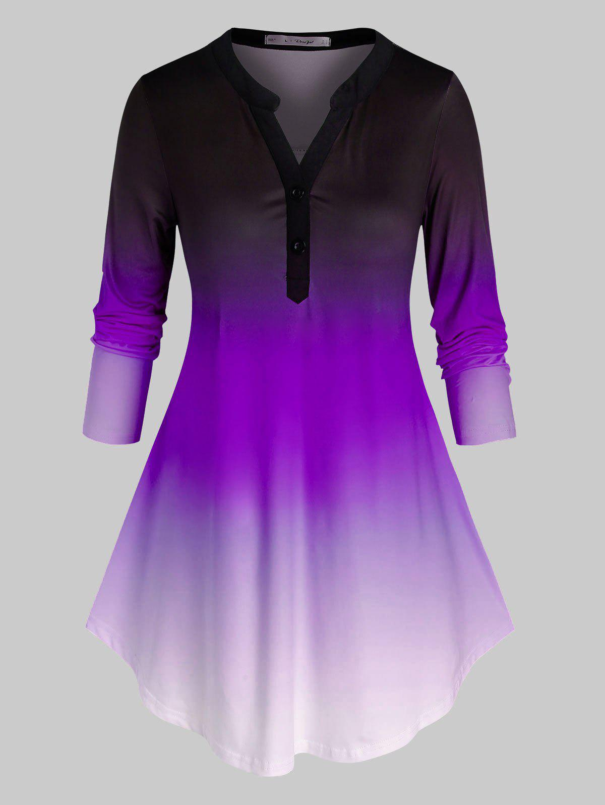 Plus Size Ombre Placket Long Sleeve Round Hem Blouse - PURPLE 2X