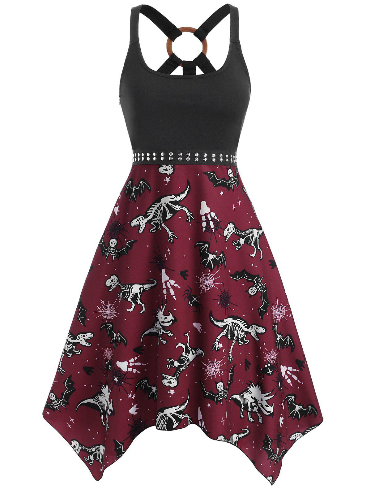 O Ring Dinosaur Bat Skeleton Print Handkerchief Dress - DEEP RED XL