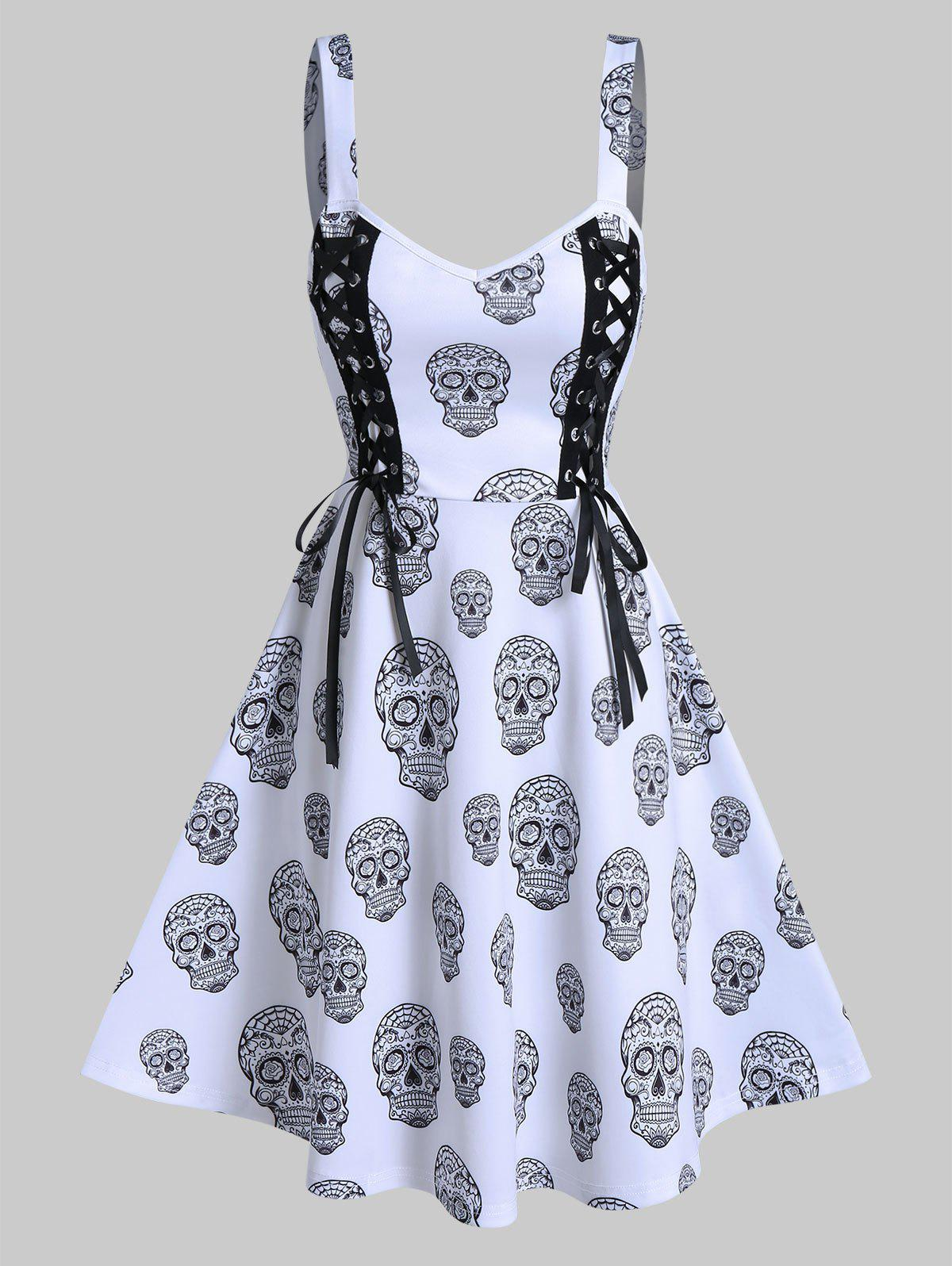 Gothic Skull Print Lace Up Cami A Line Dress - WHITE M
