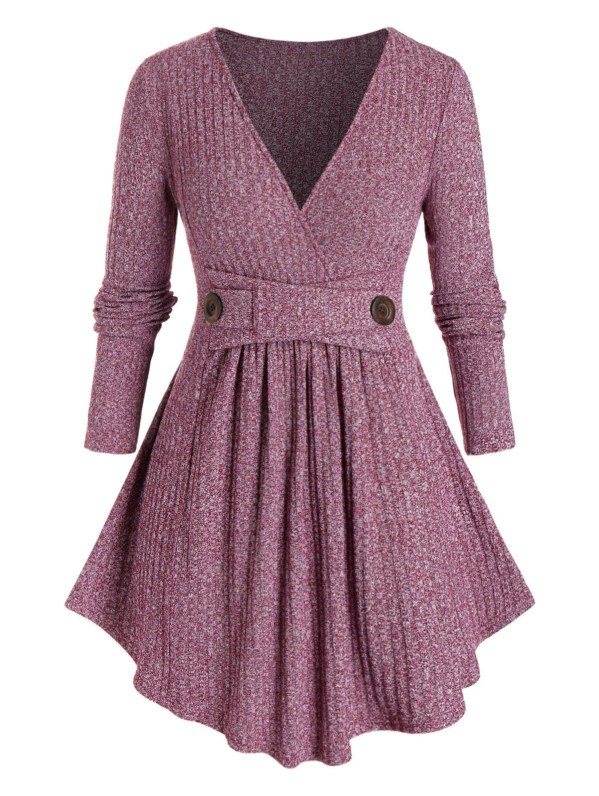Plus Size Marled Ribbed Knitwear - RED WINE 5X