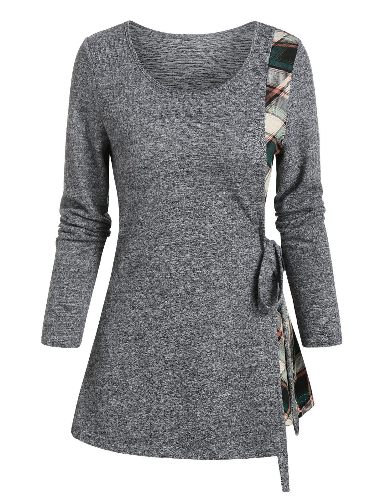 Plaid Insert Long Sleeve Knotted T-shirt - ASH GRAY L