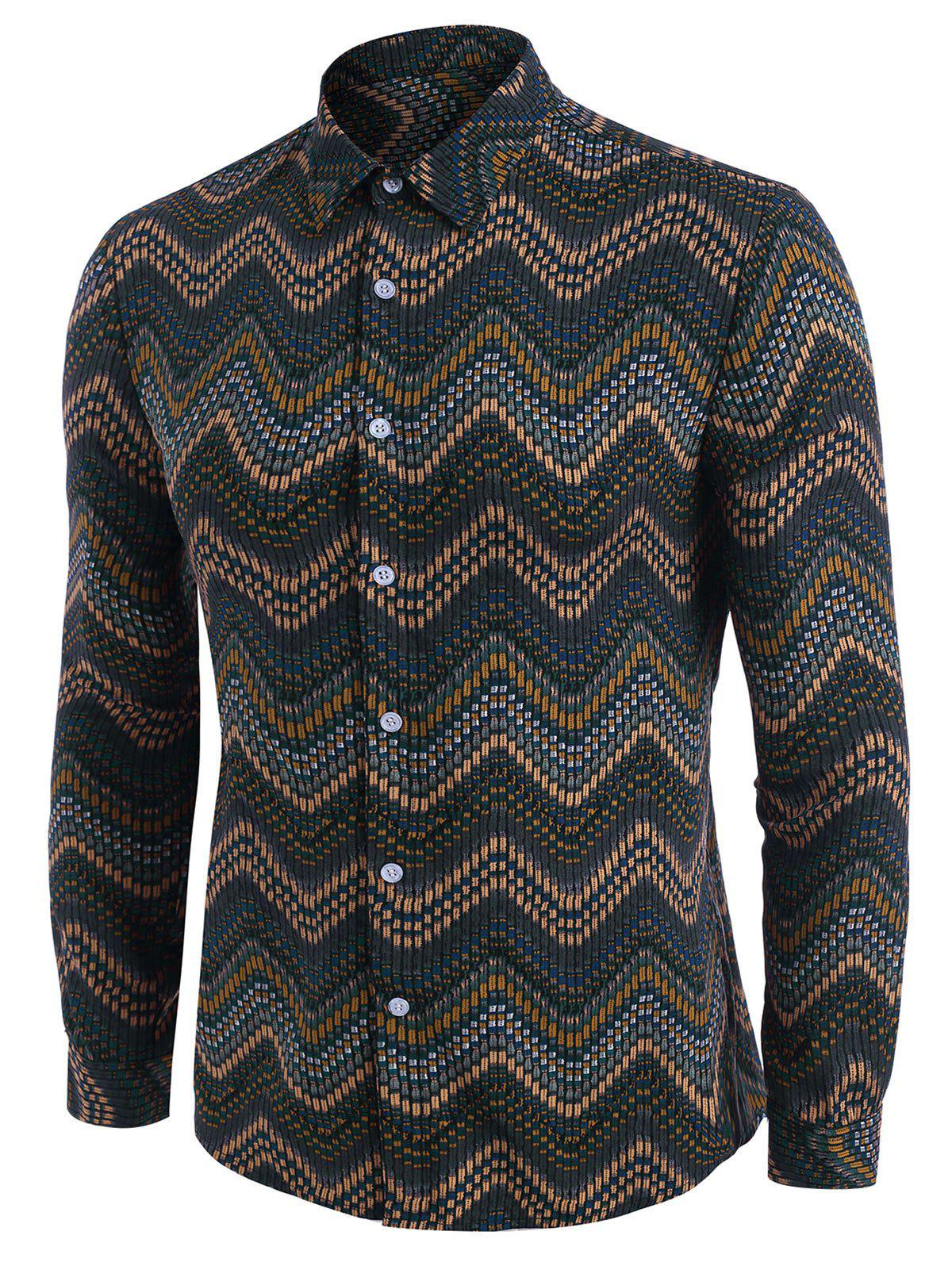 Tribal Zigzag Print Long Sleeve Shirt - DEEP YELLOW M